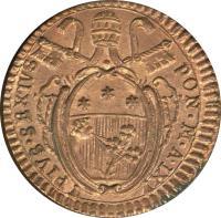 obverse of 1 Quattrino - Pius VI (1783 - 1787) coin with KM# 1223 from Italian States. Inscription: PIVS · SEXTVS - PON · M · A · IX