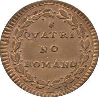 reverse of 1 Quattrino - Pius VI (1783 - 1787) coin with KM# 1223 from Italian States. Inscription: QVATRI NO ROMANO