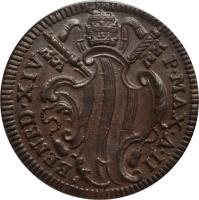 obverse of 1 Baiocco - Benedict XIV (1740 - 1743) coin with KM# 1154 from Italian States. Inscription: BENED.XIV P.MAX.A.II