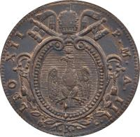 obverse of 1/2 Baiocco - Leo XII (1825 - 1826) coin with KM# 1296 from Italian States. Inscription: LEO XII P.M.A. III G./.R./C.