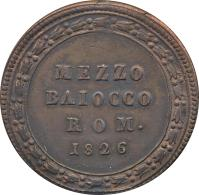 reverse of 1/2 Baiocco - Leo XII (1825 - 1826) coin with KM# 1296 from Italian States. Inscription: MEZZO BAIOCCO ROM. 1826