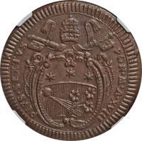 obverse of 2 Baiocchi - Pius VI (1785 - 1797) coin with KM# 1226.1 from Italian States. Inscription: PIVS.SEXTUS PON.M.A.XVIII
