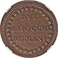 reverse of 2 Baiocchi - Pius VI (1785 - 1797) coin with KM# 1226.1 from Italian States. Inscription: DVE BAIOCCHI ROMANI