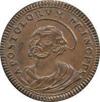 obverse of 2 1/2 Baiocchi - Pius VI (1795) coin with KM# 1237 from Italian States. Inscription: APOSTOLORVM PRINCEPS