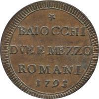 reverse of 2 1/2 Baiocchi - Pius VI (1795) coin with KM# 1237 from Italian States. Inscription: * BAIOCCHI DVE E MEZZO ROMANI 1795
