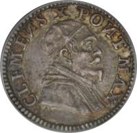 obverse of 1 Grosso - Clement X (1675) coin with KM# 359 from Italian States. Inscription: CLEMENS X PONT MAX