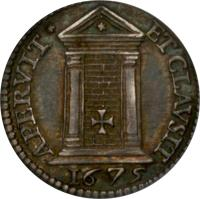 reverse of 1 Grosso - Clement X (1675) coin with KM# 359 from Italian States. Inscription: APERVIT* ET CLAVSIT 1675