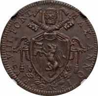 obverse of 1 Baiocco - Pius VIII (1829) coin with KM# 1301 from Italian States. Inscription: PIVS.VIII.PONT.MAX.ANNO.I. G. C: R