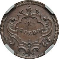 reverse of 1 Soldo - Carlo VI (1739) coin with KM# 2 from Italian States. Inscription: .1. SOLDO