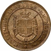 obverse of 2 Centesimi - Provisional Government (1859) coin with C# 82 from Italian States. Inscription: - VITTORIO EMANUELE RE ELETTO - *