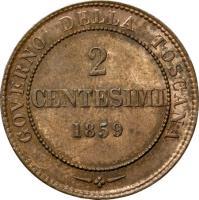 reverse of 2 Centesimi - Provisional Government (1859) coin with C# 82 from Italian States. Inscription: GOVERNO DELLA TOSCANA -*- 2 CENTESIMI 1859