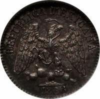 obverse of 5 Centavos (1868) coin with KM# Pn108 from Mexico. Inscription: REPUBLICA MEXICANA 1868