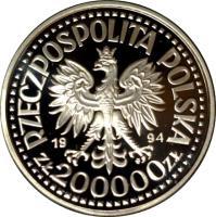 obverse of 200000 Złotych - Polish Soldiers WW II Monte Cassino (1994) coin with Y# 262 from Poland. Inscription: RZECZYPOSPOLITA POLSKA 1994 200 000