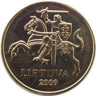 obverse of 20 Centų (1997 - 2014) coin with KM# 107 from Lithuania. Inscription: LIETUVA 2009