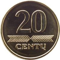 reverse of 20 Centų (1997 - 2014) coin with KM# 107 from Lithuania. Inscription: 20 CENTŲ