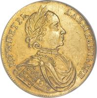 obverse of 2 Ducat / 2 Chervonets - Peter I - Trade Coinage (1714) coin with KM# 150 from Russia.