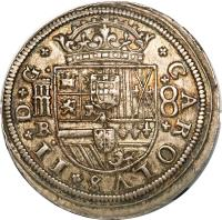 obverse of 8 Reales - Carlos II (1679 - 1685) coin with KM# 191 from Spain. Inscription: CAROLVS II D G R 8