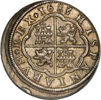 reverse of 8 Reales - Carlos II (1679 - 1685) coin with KM# 191 from Spain. Inscription: 1682 HISPANIARUM REX
