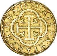 reverse of 4 Escudos - Felipe III (1607 - 1611) coin with KM# 31 from Spain.