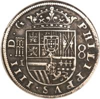 obverse of 8 Reales - Felipe IV (1632 - 1660) coin with KM# 111 from Spain.