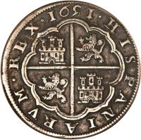 reverse of 8 Reales - Felipe IV (1632 - 1660) coin with KM# 111 from Spain.