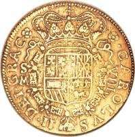 obverse of 8 Escudos - Carlos II (1699 - 1700) coin with KM# 233 from Spain.