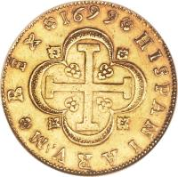 reverse of 8 Escudos - Carlos II (1699 - 1700) coin with KM# 233 from Spain.