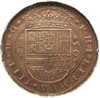 obverse of 50 Reales - Felipe IV (1622 - 1659) coin with KM# 81 from Spain.