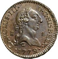 obverse of 1 Maravedi - Carlos III (1770 - 1775) coin with KM# 405 from Spain.
