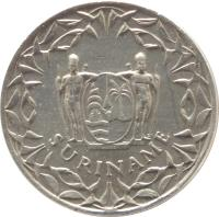 obverse of 10 Cents - Juliana - Non magnetic (1962 - 1986) coin with KM# 13 from Suriname. Inscription: SURINAME