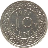 reverse of 10 Cents - Juliana - Non magnetic (1962 - 1986) coin with KM# 13 from Suriname. Inscription: 1962 10 CENT