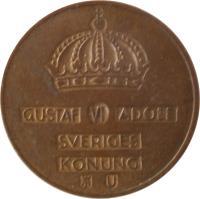 obverse of 2 Öre - Gustaf VI Adolf (1952 - 1971) coin with KM# 821 from Sweden. Inscription: GUSTAF VI ADOLF SVERIGES KONUNG TS
