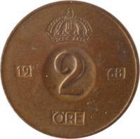 reverse of 2 Öre - Gustaf VI Adolf (1952 - 1971) coin with KM# 821 from Sweden. Inscription: 19 2 55 ØRE