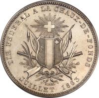 obverse of 5 Francs - Shooting Festival (1863) coin with X# S7 from Switzerland.