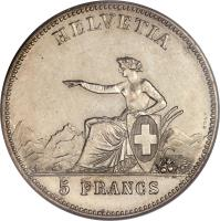 reverse of 5 Francs - Shooting Festival (1863) coin with X# S7 from Switzerland.
