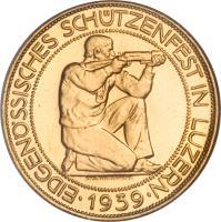 obverse of 100 Francs - Shooting Festival (1939) coin with X# S21 from Switzerland. Inscription: EIDGENÖSSISCHES SCHÜTZENFEST IN LUZERN EMIL WIEDERKEHR · 1939 ·