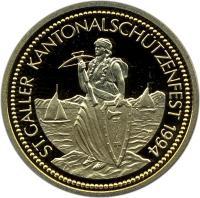 obverse of 1000 Francs - Shooting Festival (1994) coin with X# S45 from Switzerland. Inscription: ST. GALLER KANTONALSCHÜTZENFEST 1994