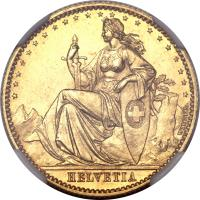 obverse of 20 Francs (1873) coin with KM# Pn26 from Switzerland. Inscription: HELVETIA WIENER