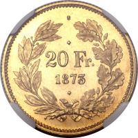 reverse of 20 Francs (1873) coin with KM# Pn26 from Switzerland. Inscription: 20 Fr. 1873