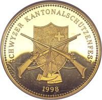 obverse of 500 Francs - Shooting Festival (1998) coin with X# S53 from Switzerland. Inscription: SCHWYZER KANTONALSCHÜTZENFEST 1998