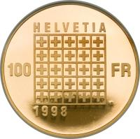 reverse of 100 Francs - Helvetic Republic (1998) coin with KM# 81 from Switzerland.