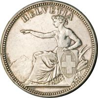 obverse of 5 Francs - Shooting Festival (1855) coin with X# S3 from Switzerland. Inscription: HELVETIA A.BOVY
