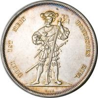 reverse of 5 Francs - Shooting Festival (1857) coin with X# S4 from Switzerland.