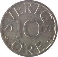 reverse of 10 Öre - Carl XVI Gustaf (1976 - 1991) coin with KM# 850 from Sweden. Inscription: 10 ØRE U