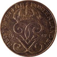 obverse of 5 Öre - Gustaf V (1909 - 1950) coin with KM# 779 from Sweden. Inscription: MED FOLKET FÖR FOSTERLANDET GGV 1940
