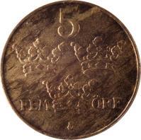 reverse of 5 Öre - Gustaf V (1909 - 1950) coin with KM# 779 from Sweden. Inscription: 5 FEM ØRE