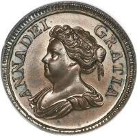 obverse of 1 Farthing - Anne (1714) coin with KM# 537 from United Kingdom. Inscription: ANNA DEI GRATIA