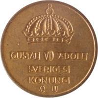 obverse of 1 Öre - Gustaf VI Adolf (1952 - 1971) coin with KM# 820 from Sweden. Inscription: GUSTAF VI ADOLF SVERIGES KONUNG U