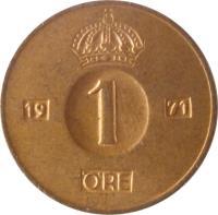 reverse of 1 Öre - Gustaf VI Adolf (1952 - 1971) coin with KM# 820 from Sweden. Inscription: 1 ØRE 1962