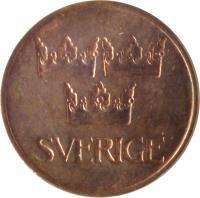 obverse of 5 Öre - Gustaf VI Adolf (1972 - 1973) coin with KM# 845 from Sweden. Inscription: SVERIGE
